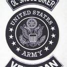 U.S. ARMY OL SKOOL BIKER VETERAN Patch Set White on Black Background