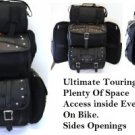 Jumbo Leather Motorcycle SissyBar Bags T Bag Set Travel Touring Pack Set Plain