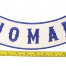 "NOMAD PATCH ROCKER 12"" SIZE BLUE ON WHITE FOR MOTORCYCLE BIKER VEST JACKET"