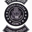 US ARMY TATTOO ARTIST COMBAT VETERAN PATCH SET FOR BIKER MOTORCYCLE VEST JACKET