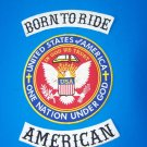 Motorcycle biker patches set Born To Ride American 3 pc One Nation Under God New