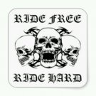 "Ride Free Ride Hard Patch 3 Skulls for Biker Motorcycle Vest Jacket  new Size 5"""