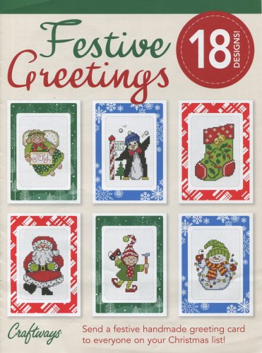 Festive Greetings Counted Cross Stitch Booklet 18 Designs Used