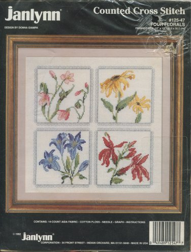 Four Florals Cross Stitch Kit by Janlynn