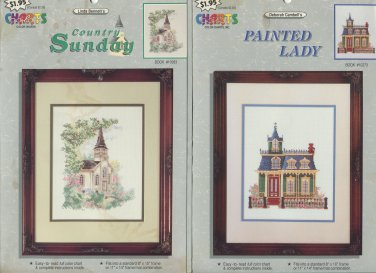 4 Cross Stitch Charts Pack - Country Sunday, Painted Lady, Loon Lake and Nautilus