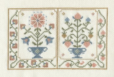 COLONIAL GARDEN Finished Completed Stitchery Hand Made