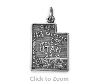 Utah State Polished Sterling Silver Charm Pendant Jewelry 74369-UT