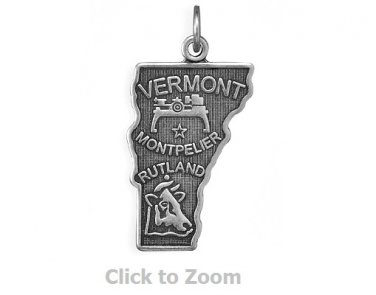 Vermont State Polished Sterling Silver Charm Pendant Jewelry 74369-VT