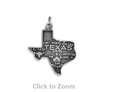 Texas State Polished Sterling Silver Charm Pendant 74369-TX