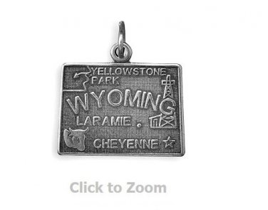 Wyoming State Polished Sterling Silver Charm Pendant Jewelry 74369-WY