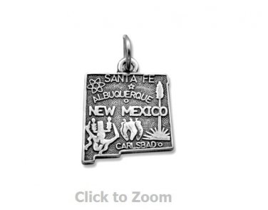 New Mexico State Polished Sterling Silver Charm Pendant 74369-NM