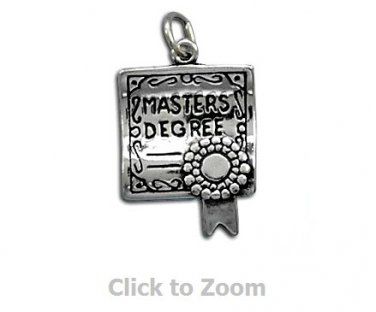 Master's Degree Graduation Sterling Silver Charm Pendant Jewelry 73368