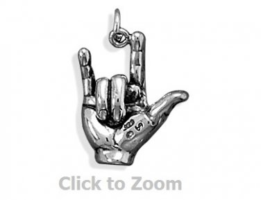 """I Love You"" Hand Sign Language Sterling Silver Pendant Charm Jewelry 7150"