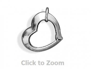 Floating Heart Sterling Silver Pendant Charm 72229