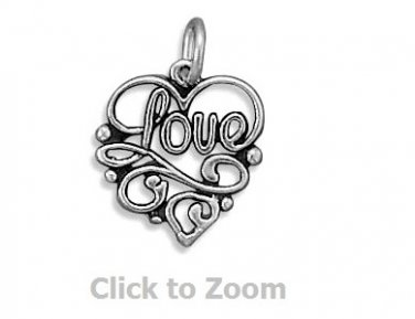 Love Squiggle Heart Sterling Silver Pendant Charm 72207