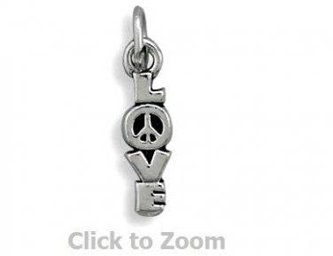 "Vertical ""LOVE"" Charm with Peace Sign Sterling Silver Pendant Charm 73703"