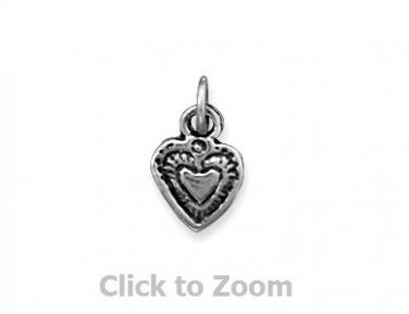 Oxidized Love Heart Sterling Silver Charm Pendant 74124