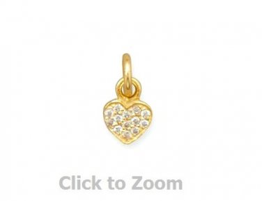 Tiny 14 Karat Gold Plated CZ Heart Charm Pendant 74251