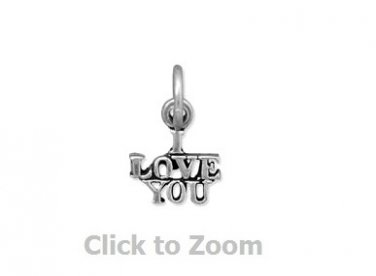 "Oxidized ""I Love You"" Sterling Silver Charm Pendant 74447"