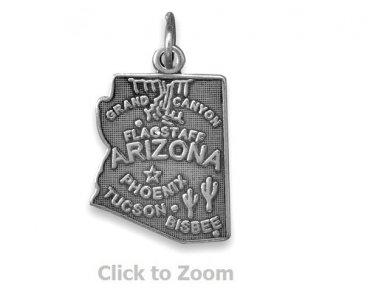 Arizona State Polished Sterling Silver Charm Pendant Jewelry 74369-AZ