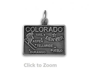 Colorado State Polished Sterling Silver Charm Pendant Jewelry 74369-CO