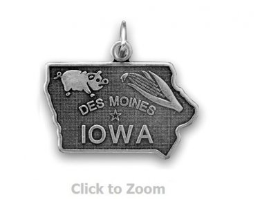 Iowa State Polished Sterling Silver Charm Pendant Jewelry 74369-IA
