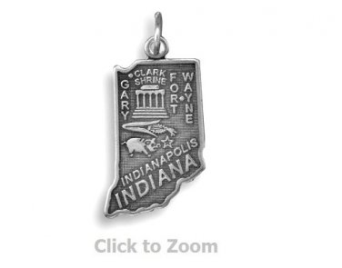 Indiana State Polished Sterling Silver Charm Pendant 74369-IN