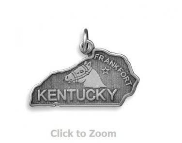 Kentucky State Polished Sterling Silver Charm Pendant Jewelry 74369-KY