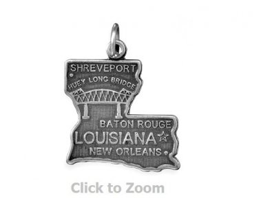 Louisiana State Polished Sterling Silver Charm Pendant Jewelry 74369-LA