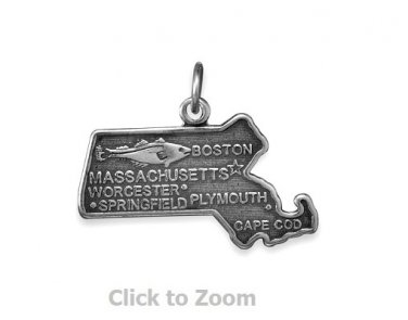 Massachusetts State Polished Sterling Silver Charm Pendant 74369-MA