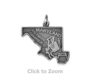 Maryland State Polished Sterling Silver Charm Pendant Jewelry 74369-MD
