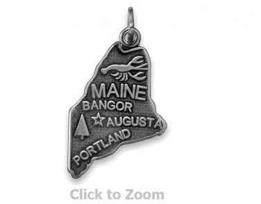 Maine State Polished Sterling Silver Charm Pendant 74369-ME