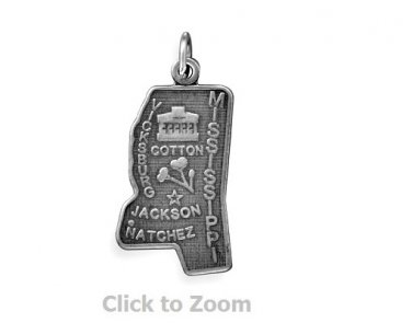 Mississippi State Polished Sterling Silver Charm Pendant Jewelry 74369-MS