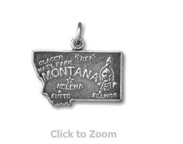 Montana State Polished Sterling Silver Charm Pendant Jewelry 74369-MT
