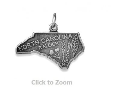 North Carolina State Polished Sterling Silver Charm Pendant Jewelry 74369-NC