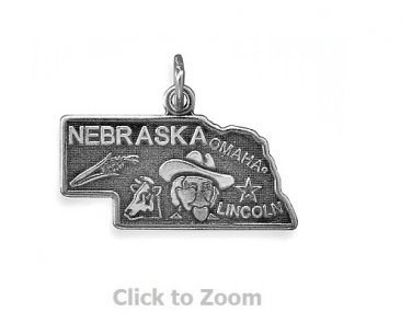 Nebraska State Polished Sterling Silver Charm Pendant Jewelry 74369-NE