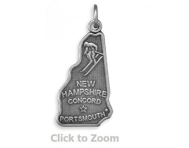 New Hampshire State Polished Sterling Silver Charm Pendant Jewelry 74369-NH