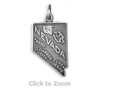 Nevada State Polished Sterling Silver Charm Pendant 74369-NV