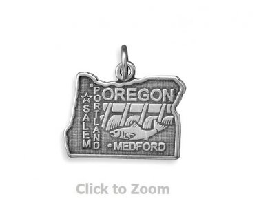 Oregon State Polished Sterling Silver Charm Pendant Jewelry 74369-OR
