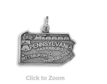 Pennsylvania State Polished Sterling Silver Charm Pendant Jewelry 74369-PA