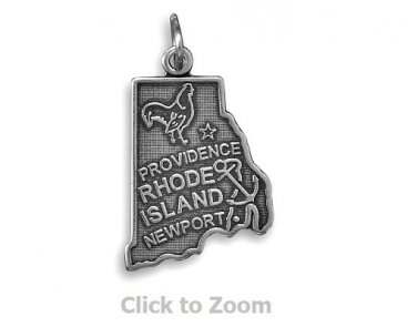 Rhode Island State Polished Sterling Silver Charm Pendant Jewelry 74369-RI