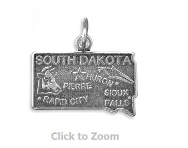 South Dakota State Polished Sterling Silver Charm Pendant Jewelry 74369-SD