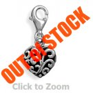 Heart Lobster Claw Sterling Silver Pendant Charm Jewelry 73752