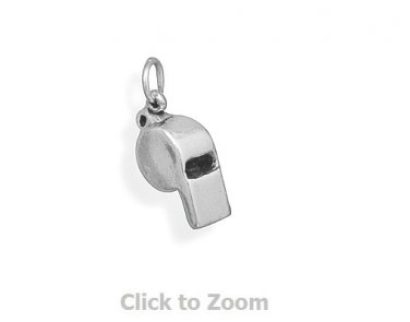Oxidized Sterling Silver Coach Whistle Jewelry Charm 74417