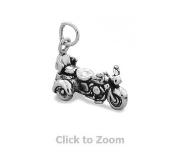 Oxidized Sterling Silver Trike Motorcycle Jewelry Charm 74420