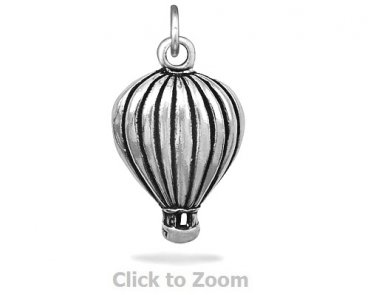 Oxidized Sterling Silver Hot Air Balloon Jewelry Charm 74457