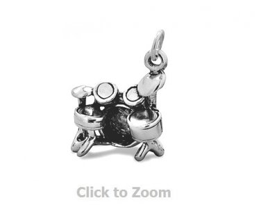 Oxidized Sterling Silver Drum Set Pendant Jewelry Charm 74459