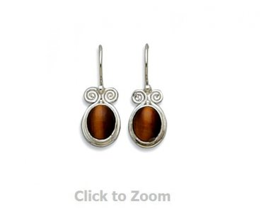 Sterling Silver Tiger's Eye Earrings on French Wire Jewelry 6088