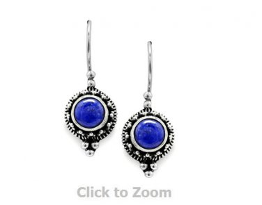 Sterling Silver Round Lapis Bead/Rope Edge Earrings on French Wire 62349