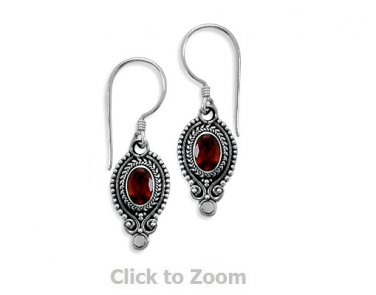 Sterling Silver Oval Faceted Garnet Oxidized Edge Earrings on French Wire 62389